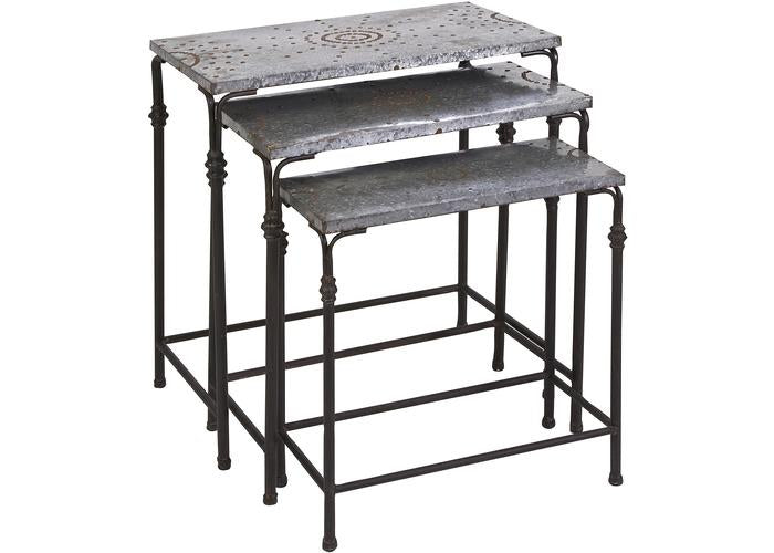 Gilbert Galvanized Nesting Tables - Set of 3 - Free Shipping!, Consoles/Hall Tables/Dining Tables, IMAX, - ReeceFurniture.com - Free Local Pick Ups: Frankenmuth, MI, Indianapolis, IN, Chicago Ridge, IL, and Detroit, MI
