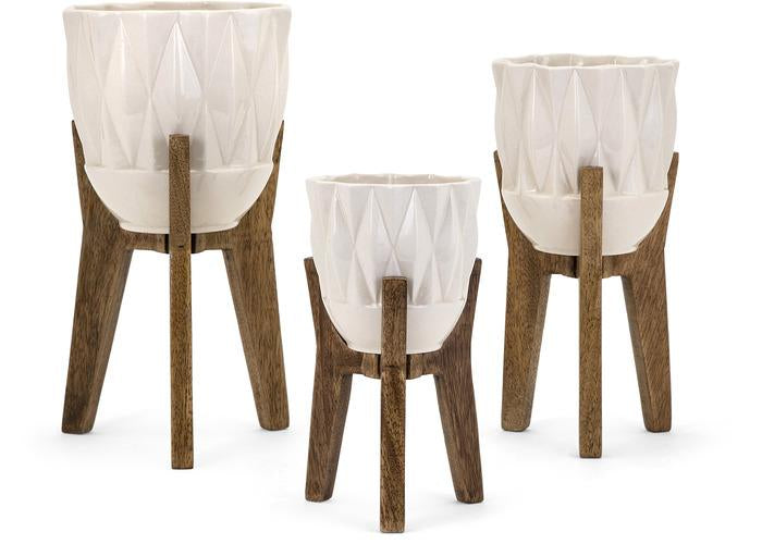 Amara Vases on Wood Stands - Set of 3, Vases, IMAX, - ReeceFurniture.com - Free Local Pick Ups: Frankenmuth, MI, Indianapolis, IN, Chicago Ridge, IL, and Detroit, MI