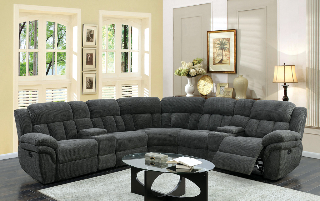 UST Santorini Wesley Graphite Modular 7 Piece Sectional with POWER Recliners