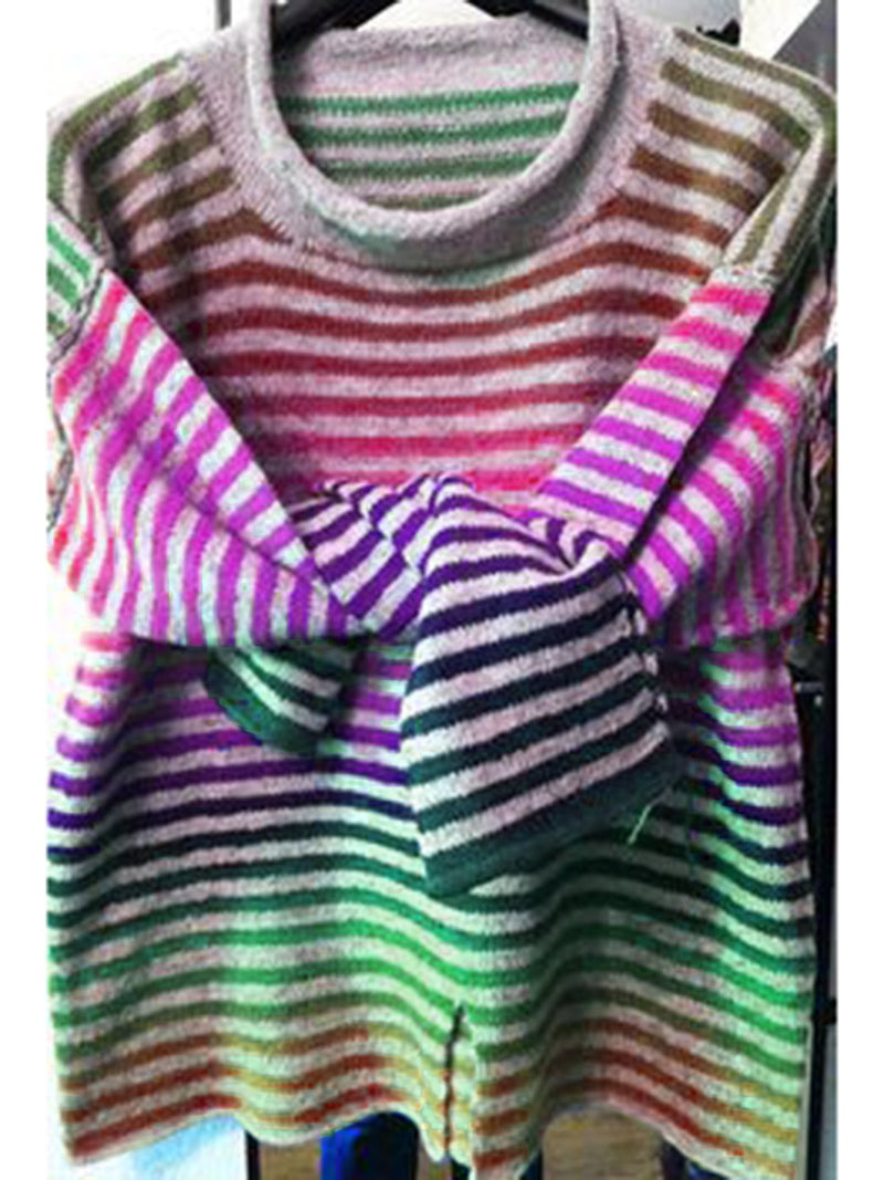Fashion Plus Size  Sweater Cotton Striped Long Sleeve Crew Neck Sweaterslus Sweater