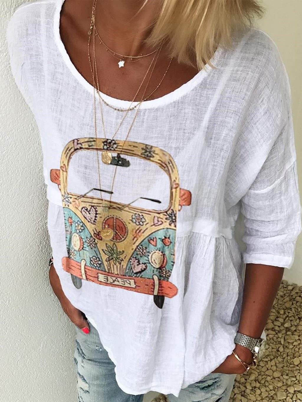 Round neck print T-shirt Long sleeves Patterned blouse