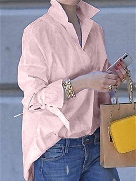 Long Sleeve Shirt Collar Blouses&shirts