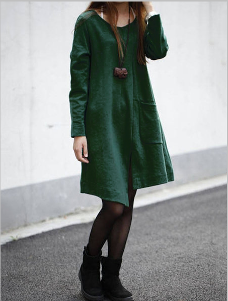Solid Long Sleeve Asymmetric Fall Dresses
