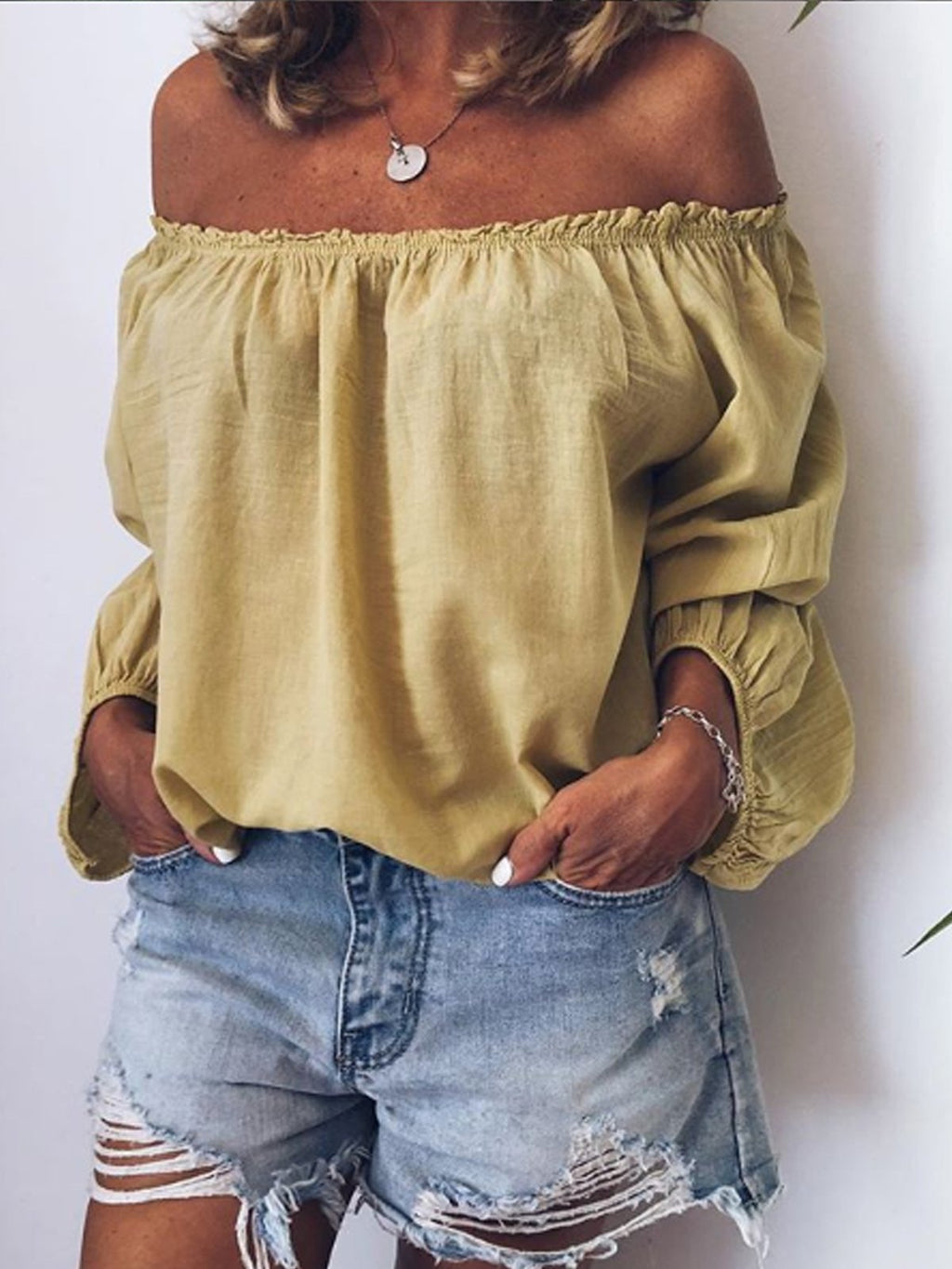 Casual Off Shoulder Long Sleeve Solid Shirts & Tops