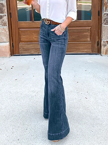 Women Bell Bottom Jeans 70s High Waist Stretchy Pants