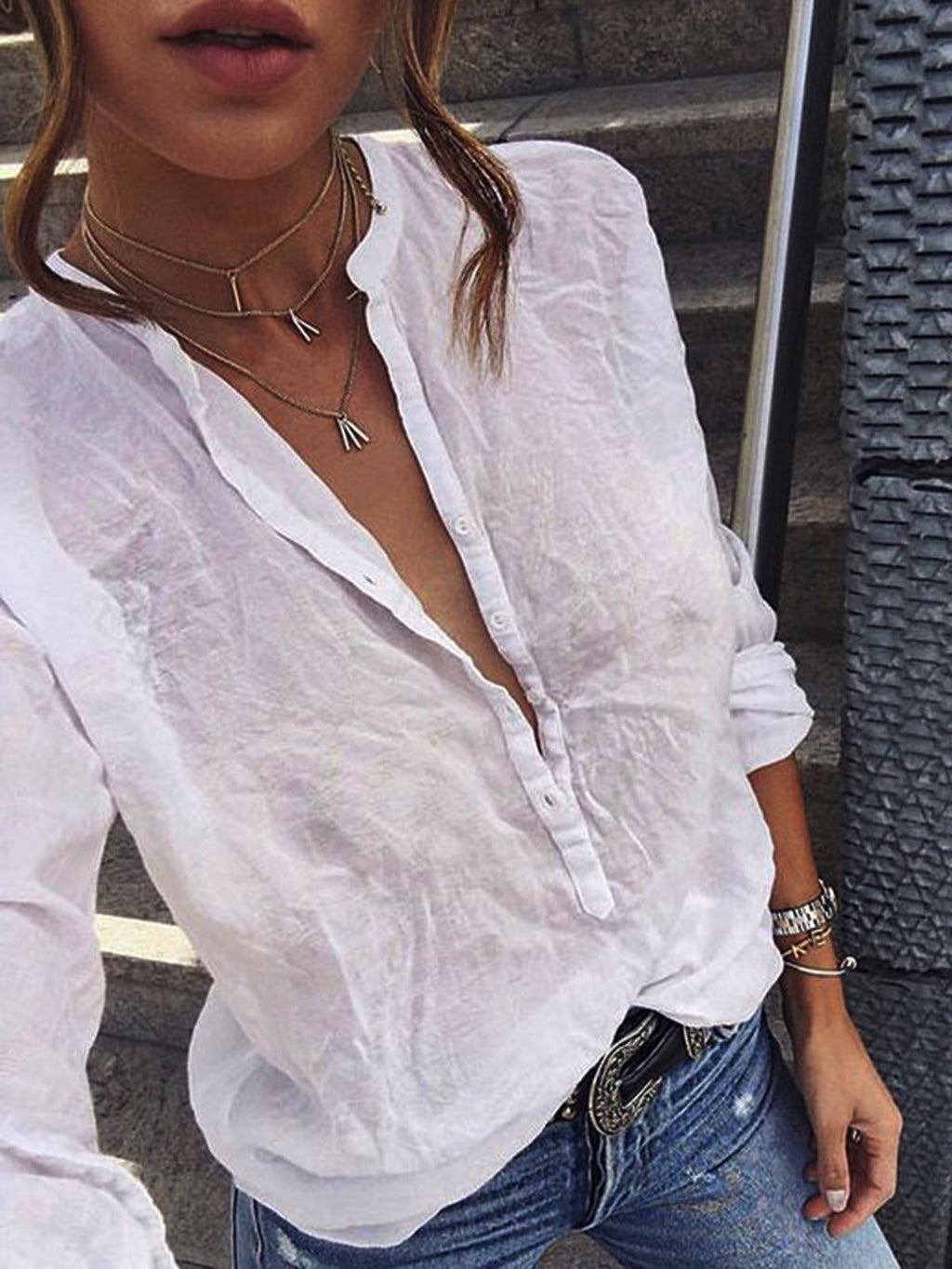 V Neck Long Sleeve Blouses&shirts