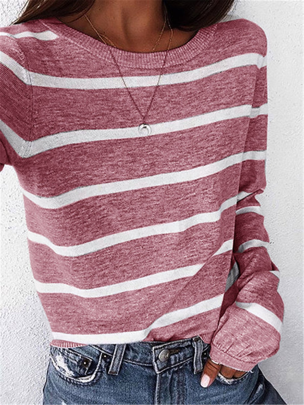 Casual Crew Neck Striped Long Sleeve T-Shirts