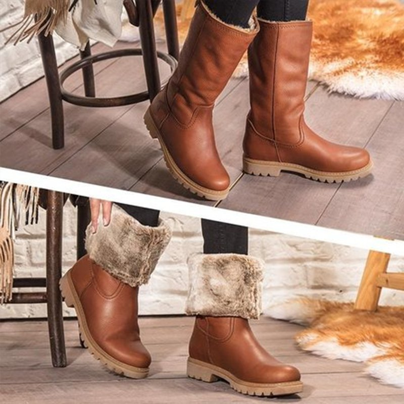 Brown Daily Winter Pu Boots