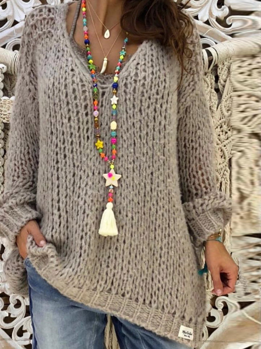 Plus Size Light Gray Basic Knitted Shirts & Tops