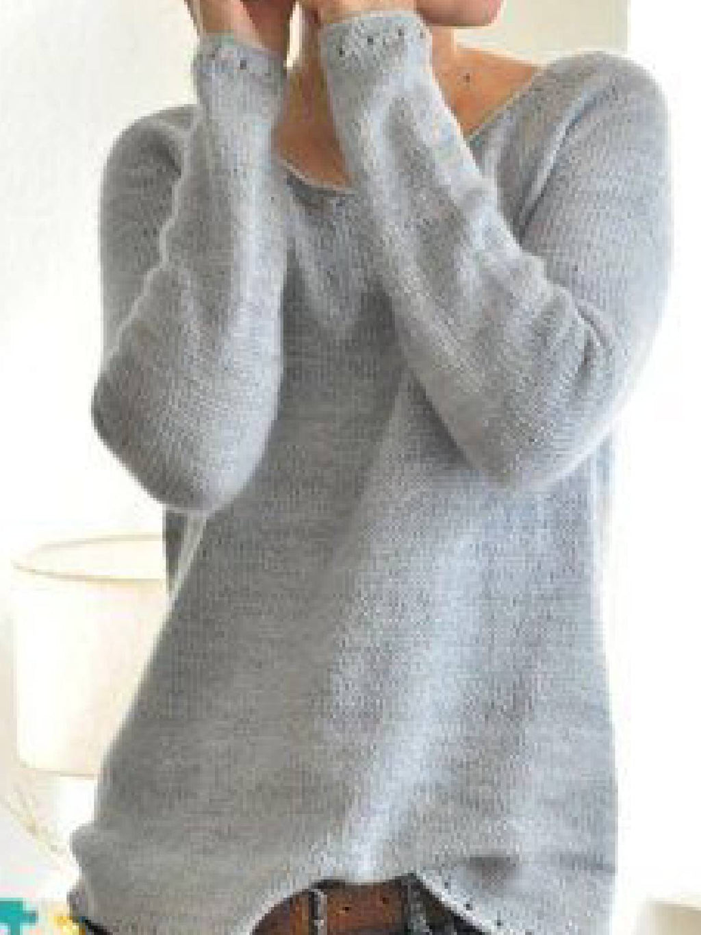 Womens Knitted Sweaters Solid Color Round Neck Long Sleeve Sweaters