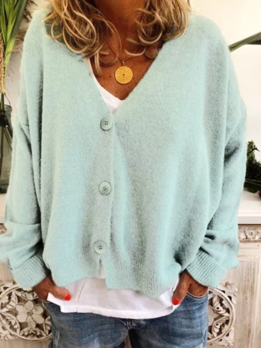 Womens Fashion Sweaters Solid color V-neck  Cardigan