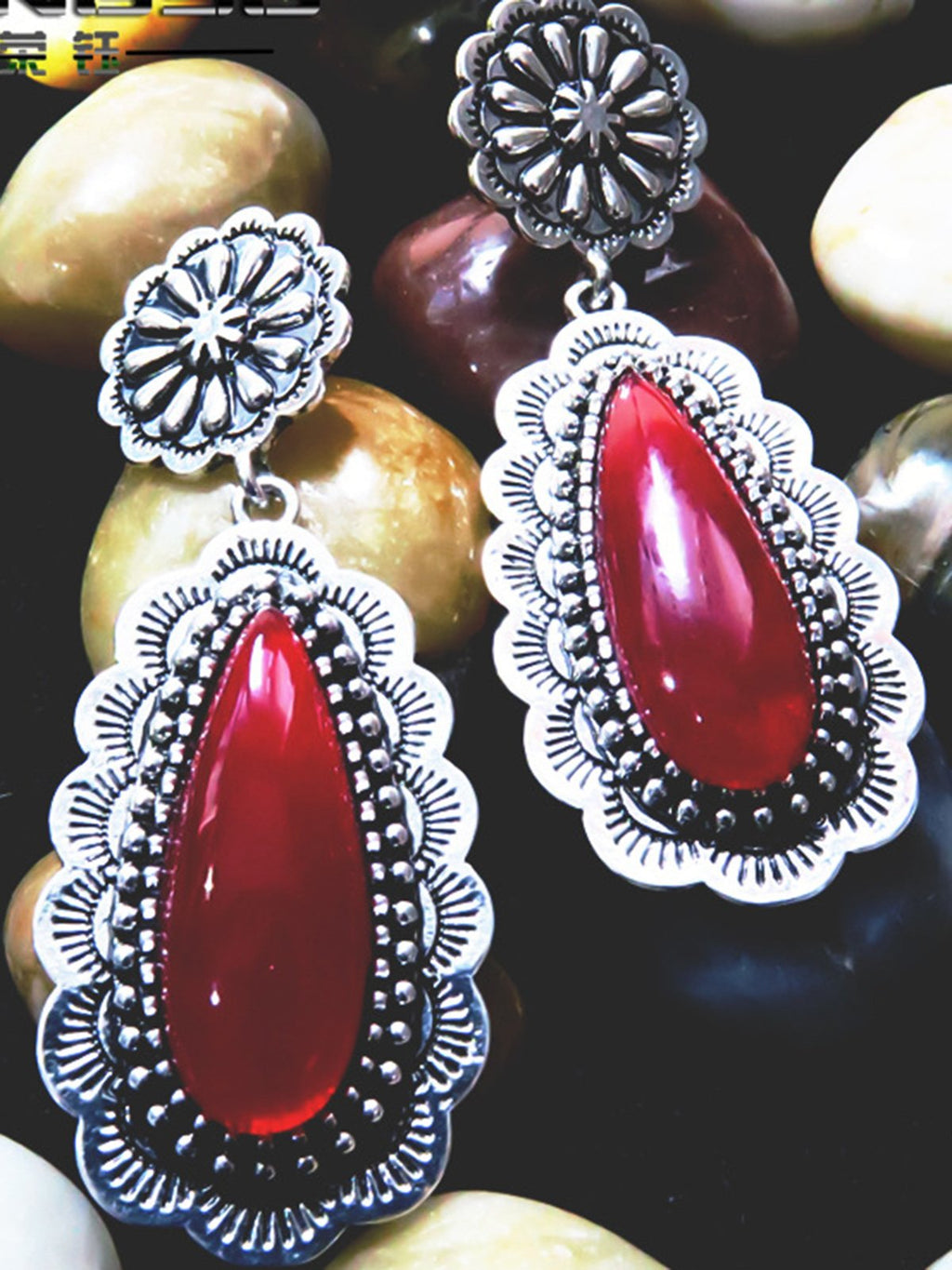 Red Alloy Casual Earrings