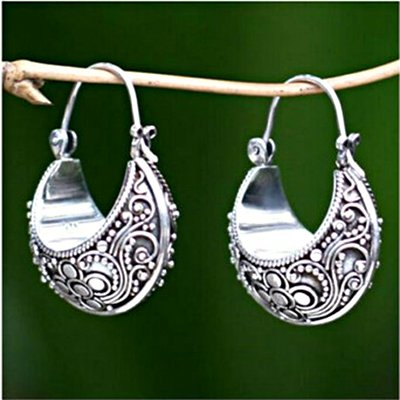 Woman Sliver  Vintage Tribal Holiday Earrings