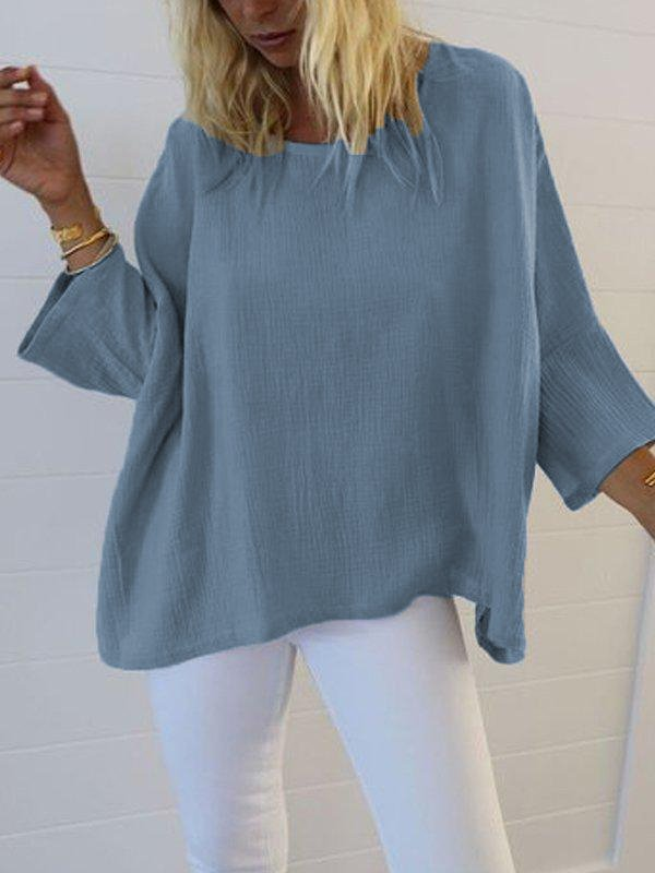 3/4 Sleeve Solid Cotton-Blend Round Neck T-Shirts