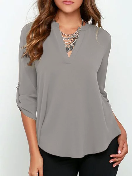 Women Vneck Solid Blouse Plus Size  Elegance Casual  T-shirt