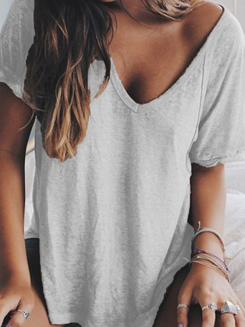 Women Summer V neck Loose T Shirt Tops