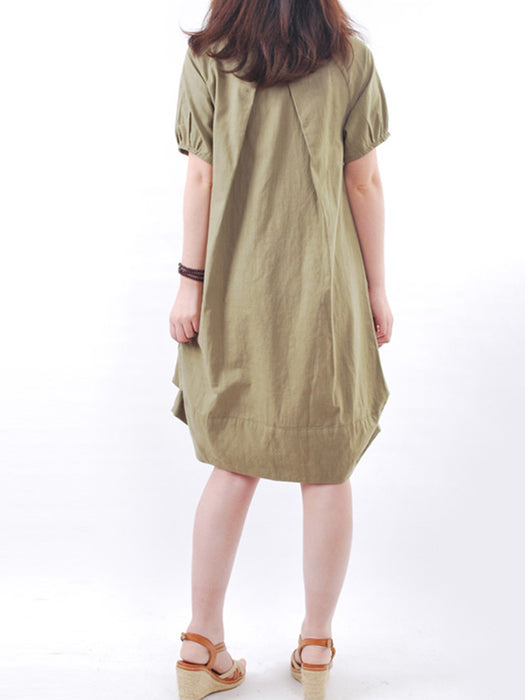 Women Crew Neck Short Sleeve Pockets Cocoon Shift Dresses