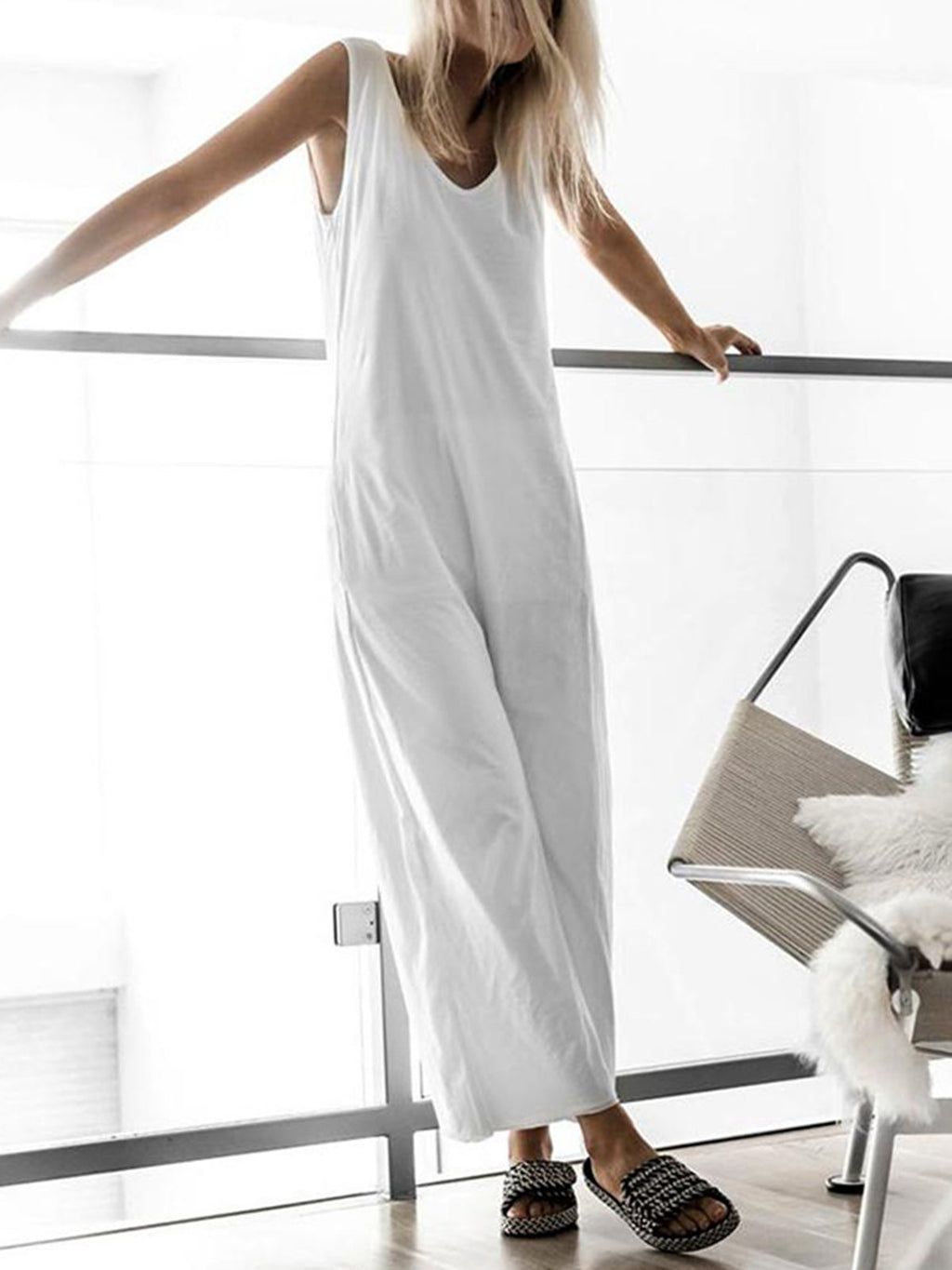 V Neck Paneled Solid Simple & Basic Jumpsuits&rompers