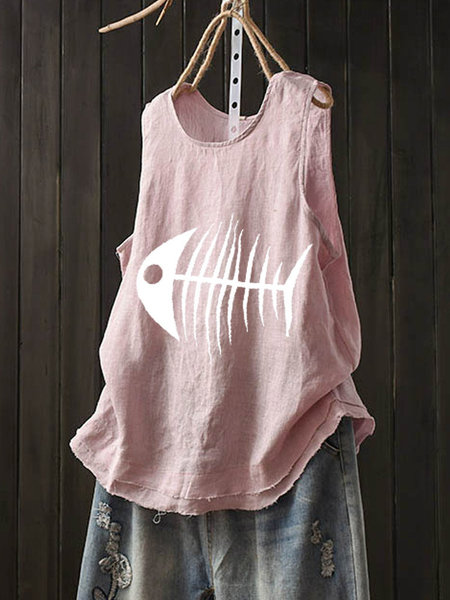Casual Sleeveless O-Neck Cotton Vest