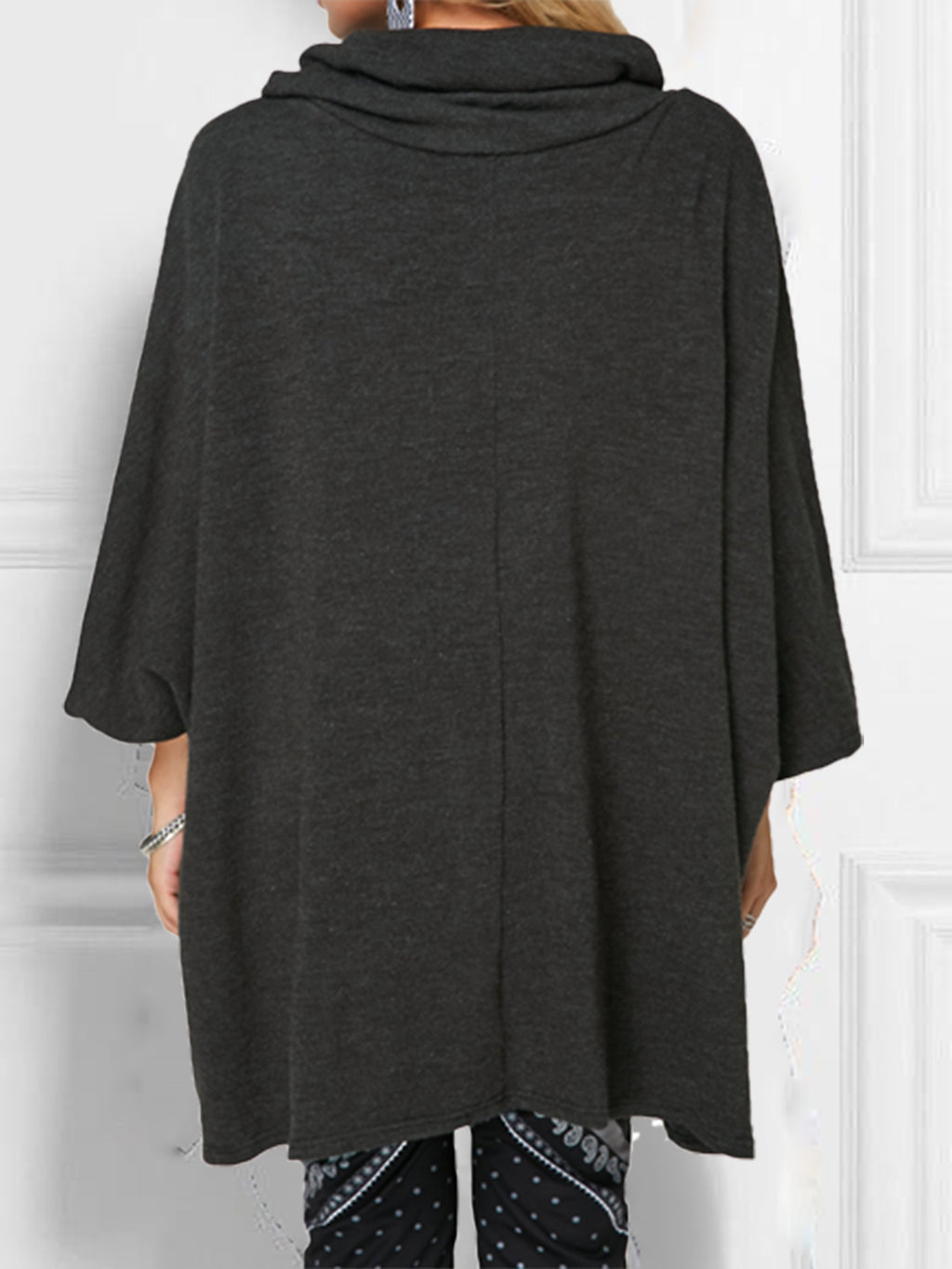 Fashion Plus Size Long Sleeve Cowl Neck T-Shirts