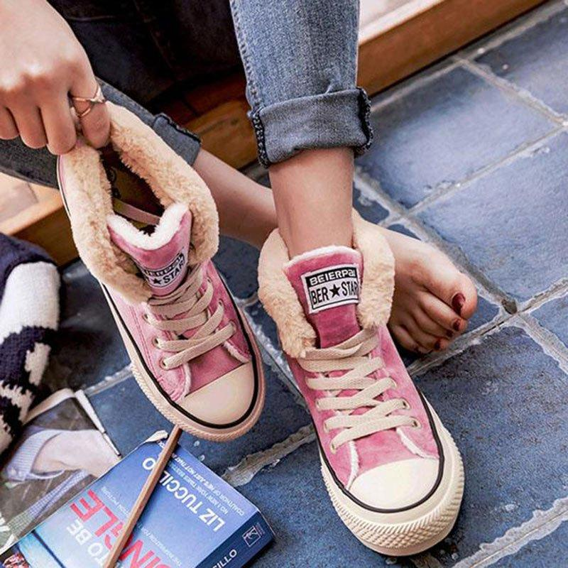 Women Fur Lined Converse Sneakers Lace-up Canvas Shoes