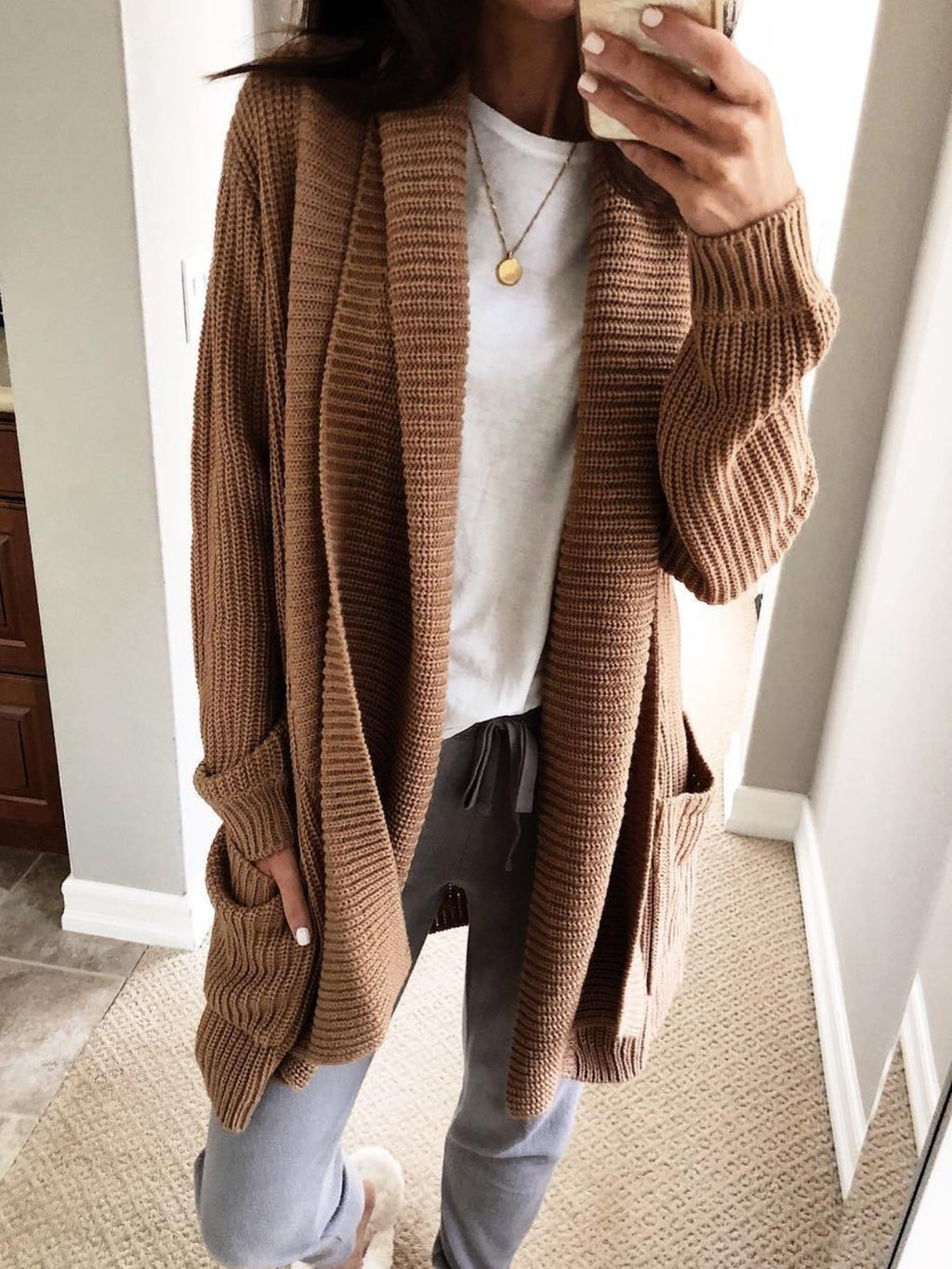Pockets Solid Long Sleeve Casual Cardigans