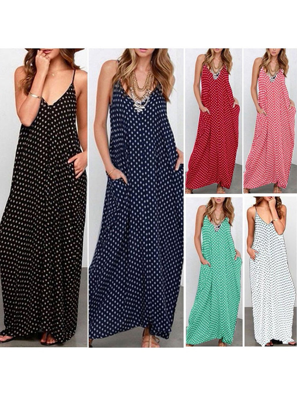 Plus Size Spaghetti Women   Beach Sleeveless Holiday Pockets Polka Dots Dress