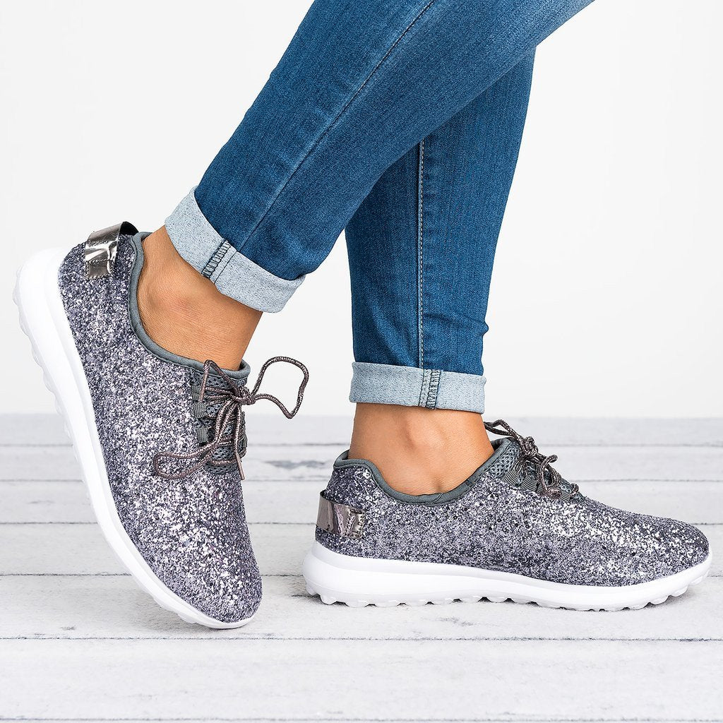 All Season Sparkling Glitter Athletic Flat Heel Sneakers