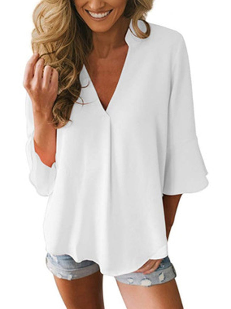 Casual V Neck Bell Sleeve Solid Chiffon Blouse