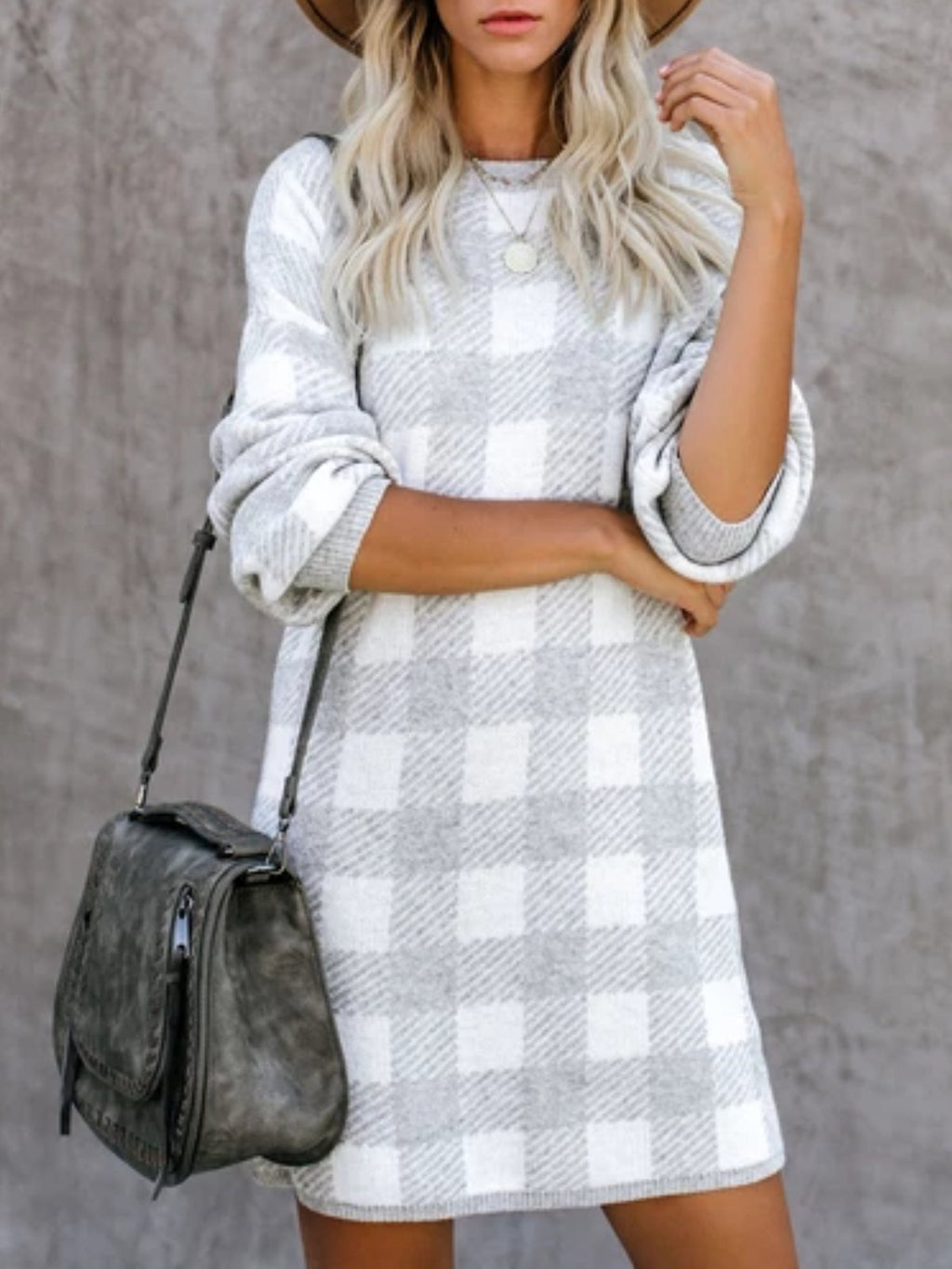 Casual Long Sleeve Checkered/plaid Fall Dresses