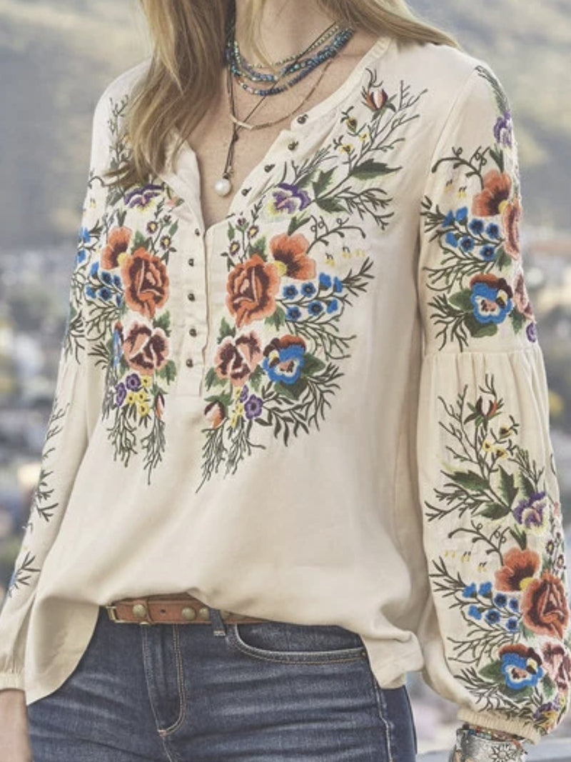 Casual Floral V-Neck Tops Long Sleeve Vintage Plus Size Shirts