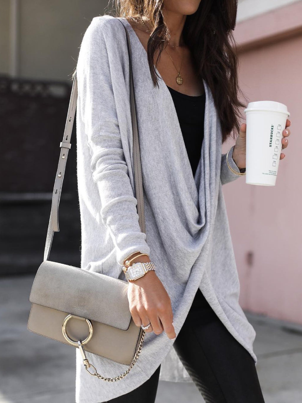 Casual V Neck Solid Shirts & Tops