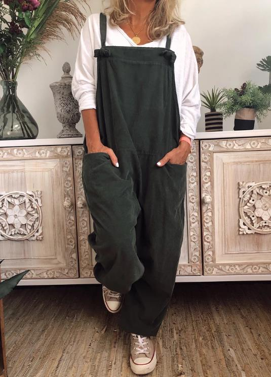 Solid Casual Cotton-Blend Pockets Jumpsuits&rompers