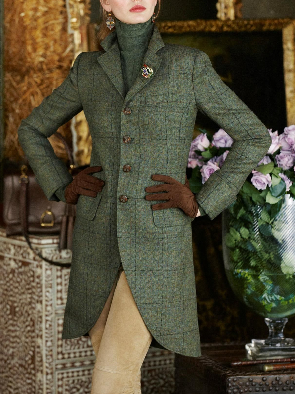 Green Plaid Casual Paneled Lapel Outerwear