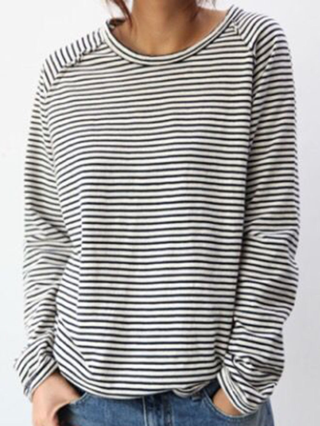 Stripes Simple & Basic Long Sleeve T-Shirts