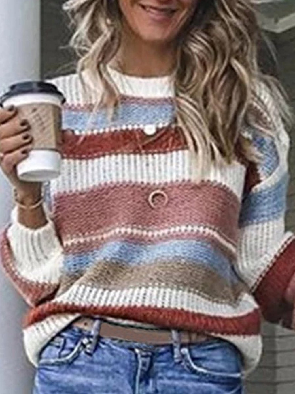 Womens Fashion Sweaters Long Sleeve Striped Printed Sweaters