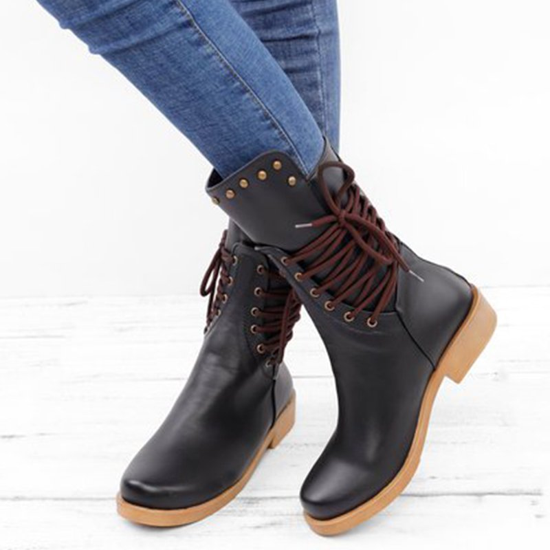Low Heel All Season Lace-Up Boots