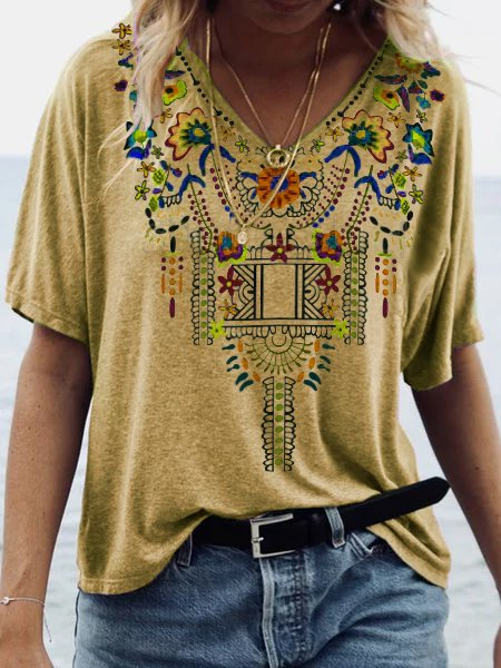 V Neck Boho Shirts Women Plus Size Vintage Printed Cotton Blouses