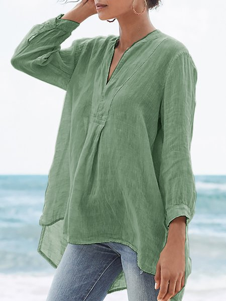 Gathered 3/4 Sleeve Casual Blouses&shirts