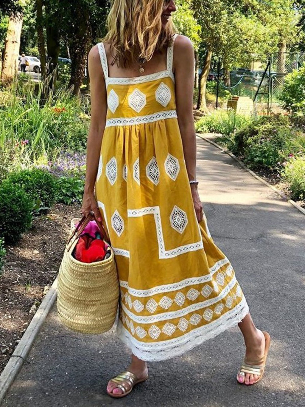 Woman Bohemian Suspender Skirt  Loose Casual Plus Size Summer Dress