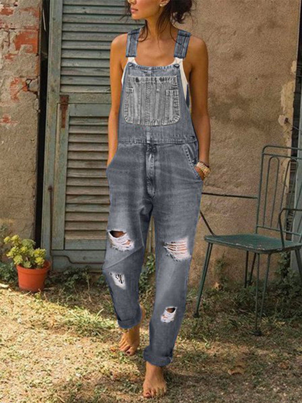 Women's Casual Denim Jumpsuit  Sleeveless holes with pockets overalls