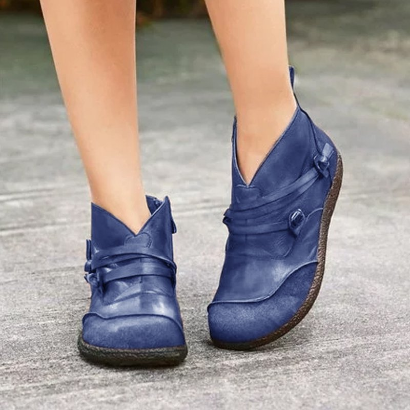 Leather Flat Heel Casual Boots