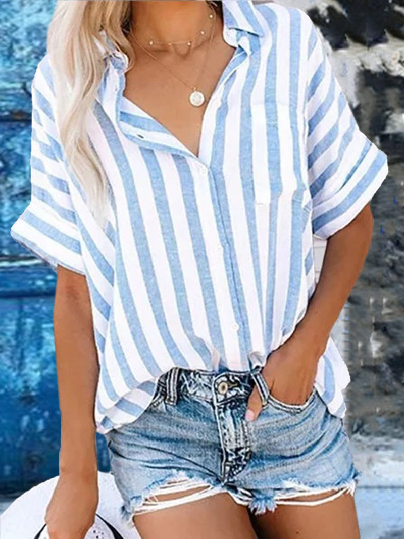 Women Buttoned Striped Shirts Stand Collar Half Sleeve Work Daily
