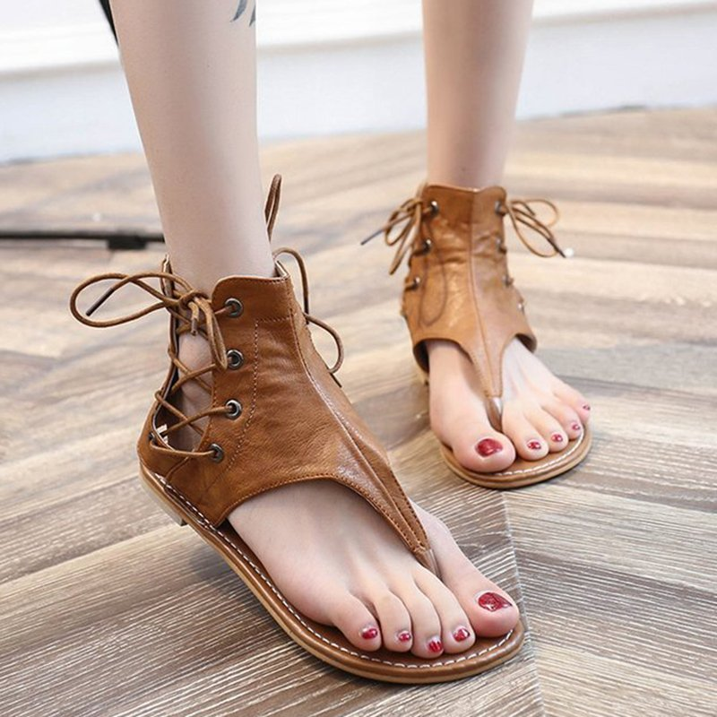 Women Plus Size Lace-up PU Flip Flops Sandals with Zipper