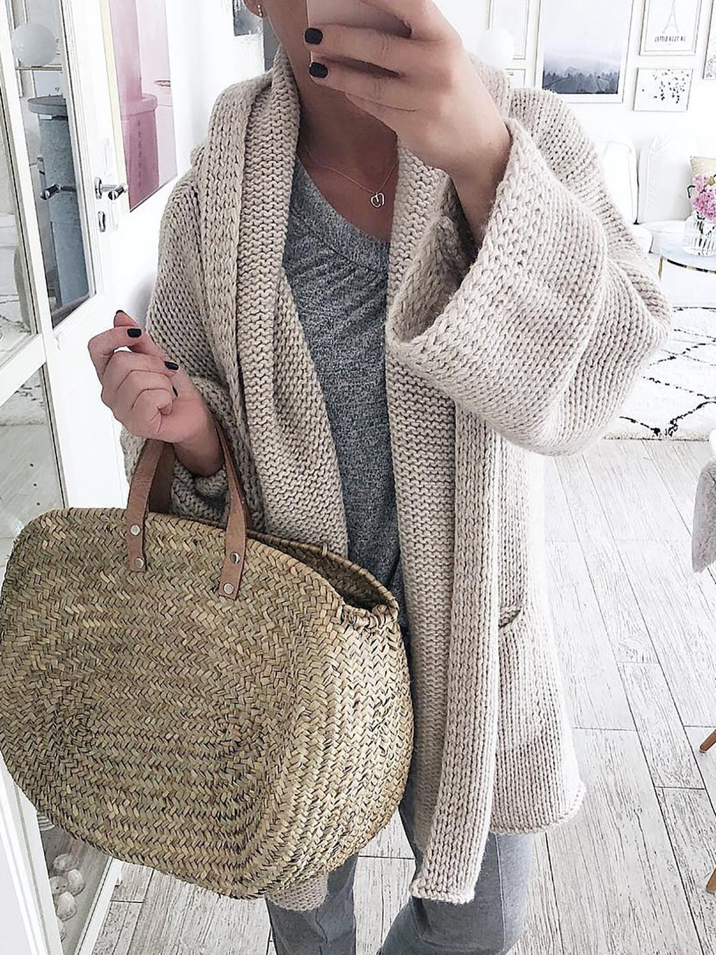 Solid Shawl Collar Long Sleeve Cotton Cardigans