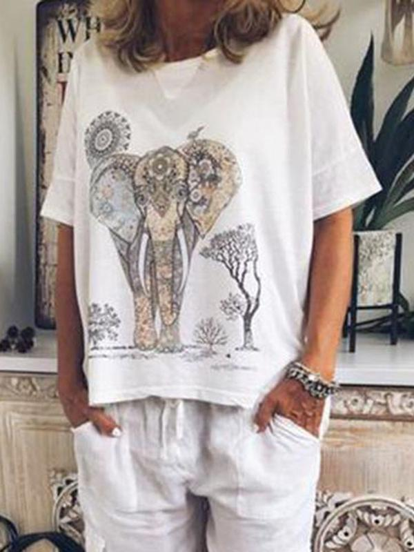 Short Sleeve Standard Animal Casual Loose T-Shirt