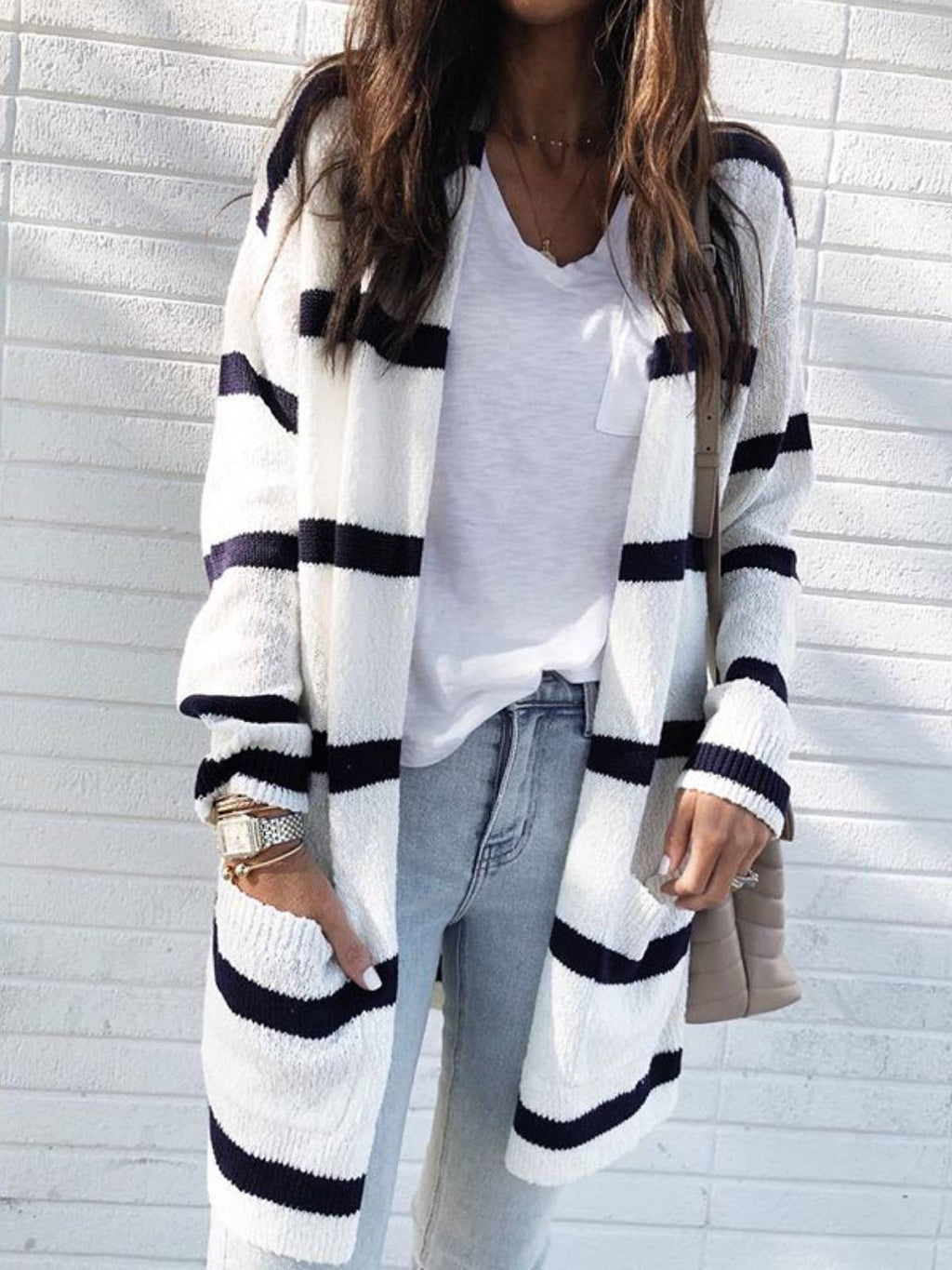 Long Sleeve Casual V Neck Stripes Cardigans