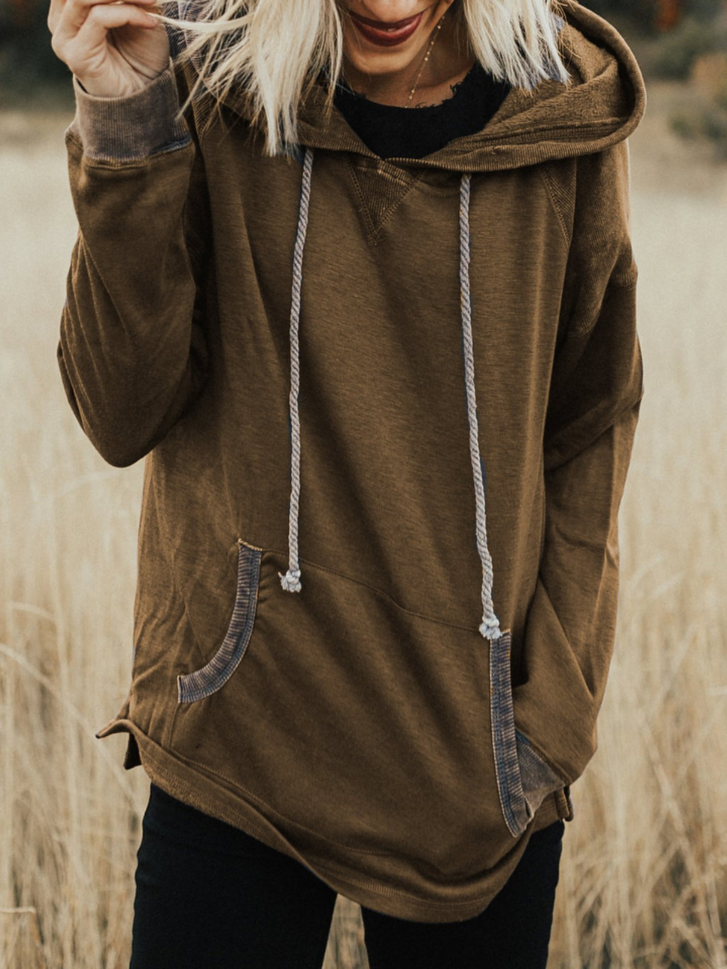 Long Sleeve Cotton-Blend Pockets Patchwork Sweatshirt&hoodies