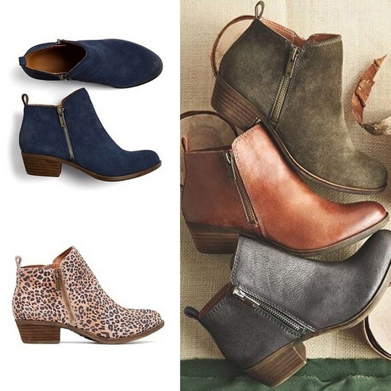 Leather Suede Chunky Heel Ankle Boots