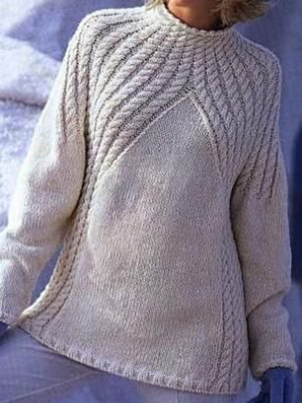 White Cotton-Blend Long Sleeve Knitted Sweater